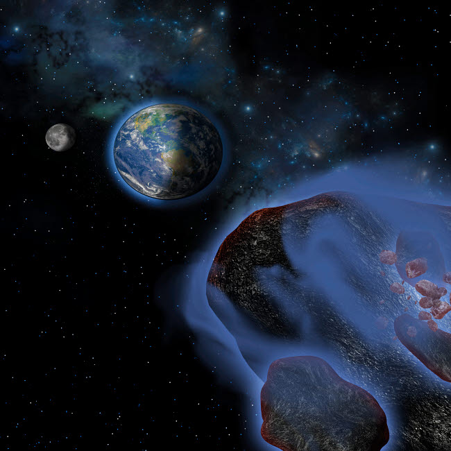 CFR100308S © Stocktrek Images, Inc. Several asteroids hurtle towards Earth on a path of devastation.