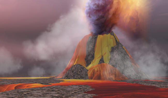 CFR100326S © Stocktrek Images, Inc. Molten magma flows from an erupting volcano.