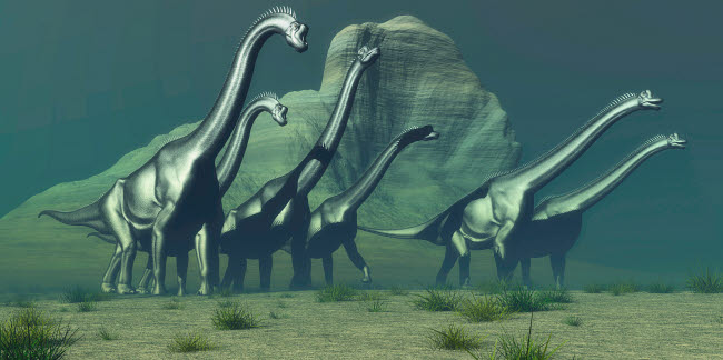 CFR200392P © Stocktrek Images, Inc. A herd of Brachiosaurus dinosaurs pass a high bluff.