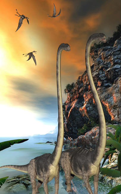 CFR200520P © Stocktrek Images, Inc. Two Omeisaurus dinosaurs walking along a steep cliff.
