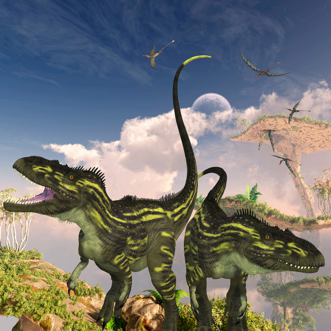 CFR200521P © Stocktrek Images, Inc. Torvosaurus dinosaurs on a cliff searching for prey.
