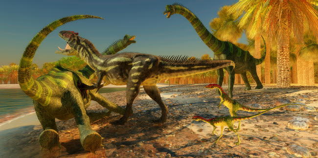 CFR200626P © Stocktrek Images, Inc. An Allosaurus dinosaur brings down a huge Brachiosaurus.