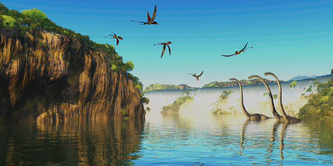 CFR200637P © Stocktrek Images, Inc. Omeisaurus dinosaurs wade in a river as Dimorphodon's fly overhead.