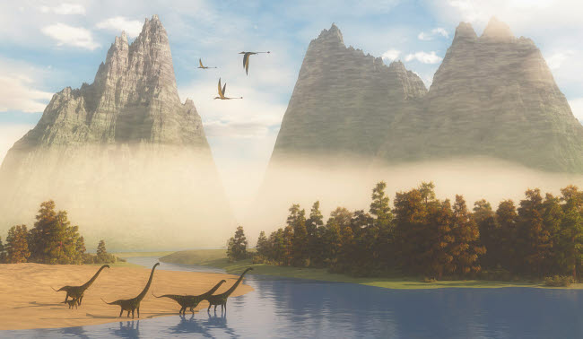 CFR200703P © Stocktrek Images, Inc. A herd of Mamenchisaurus dinosaurs grazing along a river.