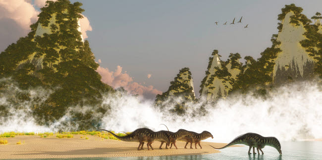 CFR200819P © Stocktrek Images, Inc. A herd of Amargasaurus dinosaurs drink water from a lake.