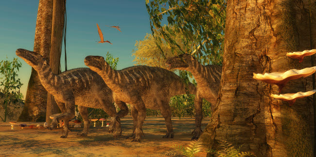 CFR200875P © Stocktrek Images, Inc. Iguanodon dinosaurs make their way among the trees of a Cretaceous forest.