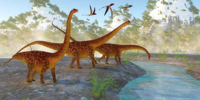 CFR200897P © Stocktrek Images, Inc. Diplodocus dinosaurs drink from a river as a flock of Dimorphodon fly above.