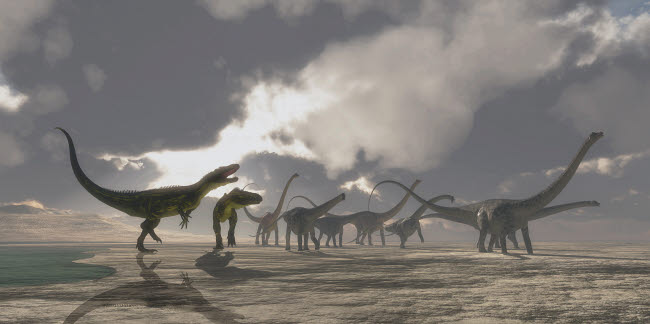 CFR601037P © Stocktrek Images, Inc. A herd of Diplodocus dinosaurs is chased away from their watering hole.