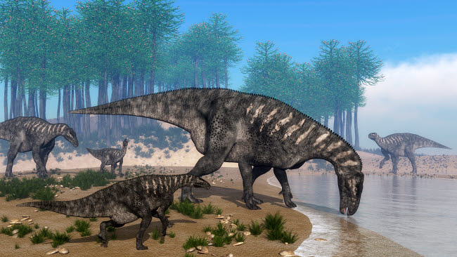 EDV600335P © Stocktrek Images, Inc. Iguanodon dinosaurs herd at the shoreline - 3D render