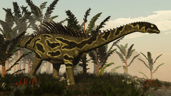 EDV600352P © Stocktrek Images, Inc. Agustinia dinosaur walking amongst vegetation.
