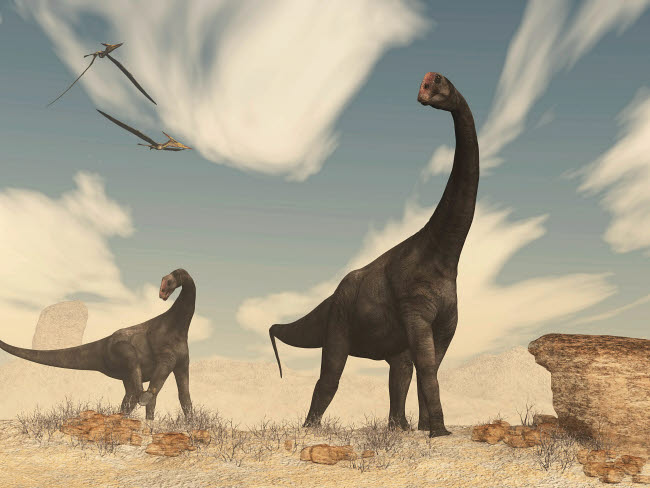 EDV600389P © Stocktrek Images, Inc. Two Brontomerus dinosaurs walking in the desert.