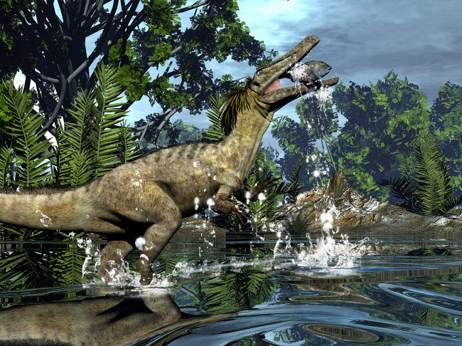 EDV600450P © Stocktrek Images, Inc. Austroraptor dinosaur fishing in a river