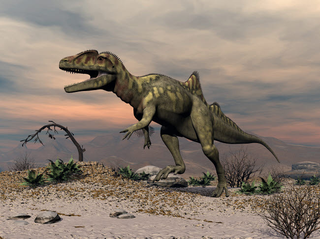 EDV600458P © Stocktrek Images, Inc. Concavenator dinosaur walking in the desert.