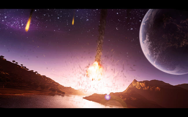 JKE100020S © Stocktrek Images, Inc. A meteor shower begins to strike the surface of a planet.