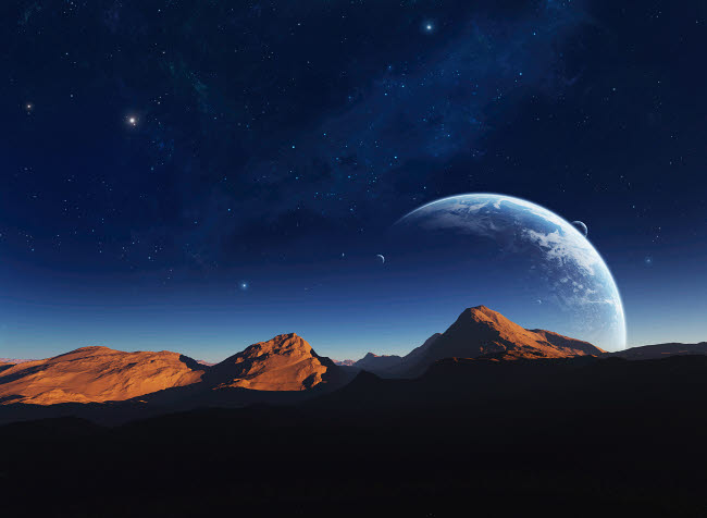 JKE100021S © Stocktrek Images, Inc. A calming view from a moon orbiting a distant planet.