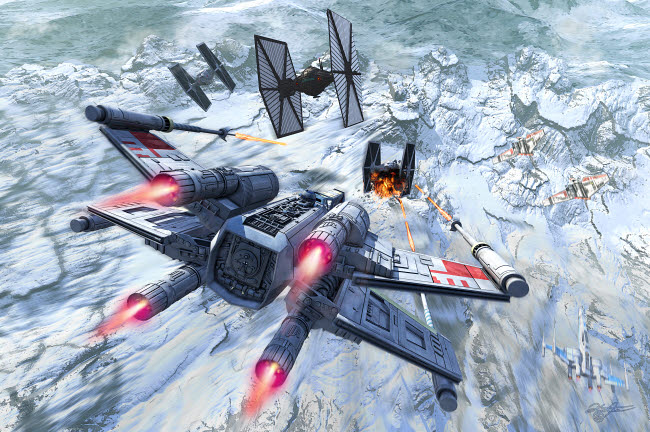 KRT200022S © Stocktrek Images, Inc. X-Wing attacking TIE fighter over an artic station.