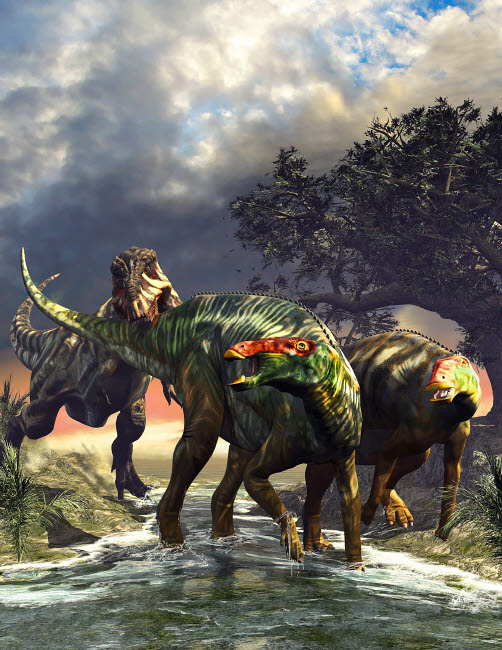 KRT600022P © Stocktrek Images, Inc. Edmontosaurus dinosaurs fighting off a T-Rex.
