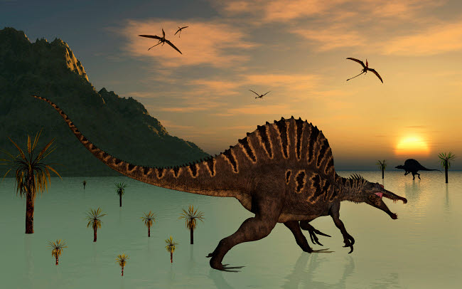 MAS100943P © Stocktrek Images, Inc. A pair of Spinosaurus hunting for fish.
