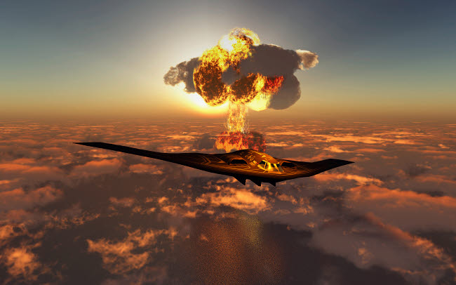 MAS101033M © Stocktrek Images, Inc. A B-2 Spirit stealth bomber flying away from its atomic bomb blast.