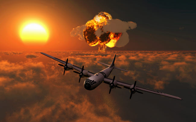 MAS101035M © Stocktrek Images, Inc. The Enola Gay B-29 Superfortres nuclear attack on Hiroshima.