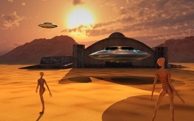 MAS200003S © Stocktrek Images, Inc. Alien reptoids and their flying saucers at Area 51.