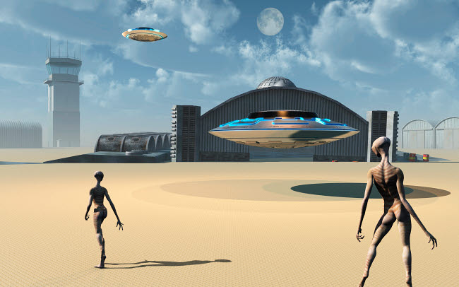 MAS200004S © Stocktrek Images, Inc. Alien reptoids and their flying saucers at Area 51.
