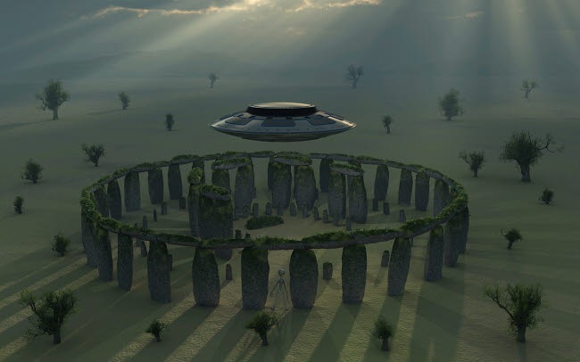 MAS200043S © Stocktrek Images, Inc. A UFO & its alien crew visiting Stonehenge.