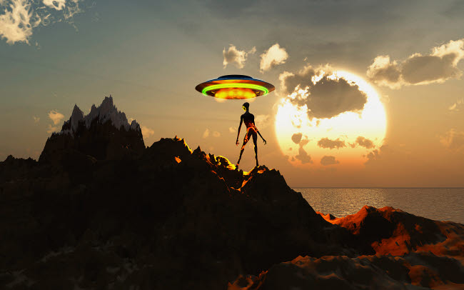 MAS200074S © Stocktrek Images, Inc. An alien reptoid waiting to hitch a ride from a passing flying saucer.