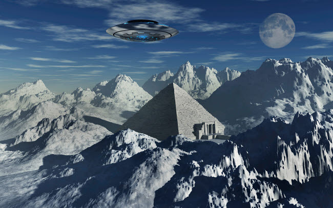 MAS200095S © Stocktrek Images, Inc. A flying saucer hovering over a pyramid in the Antarctic.