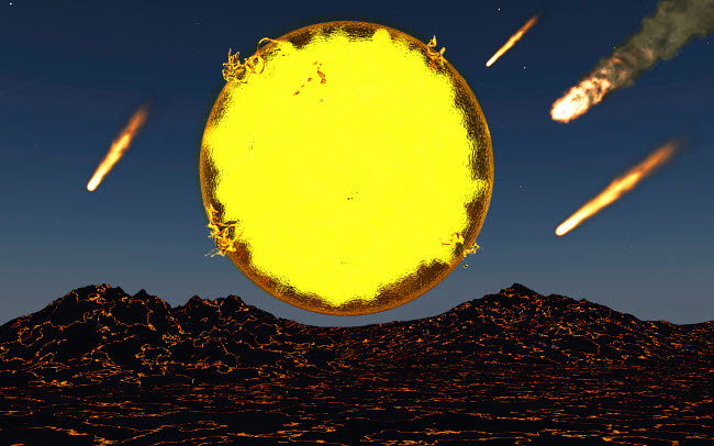 MAS200102S © Stocktrek Images, Inc. Meteorites and asteroids bombard the molten surface of a new planet.