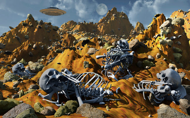 MAS200126S © Stocktrek Images, Inc. Dead humanoid remains lying near a crashed UFO site.