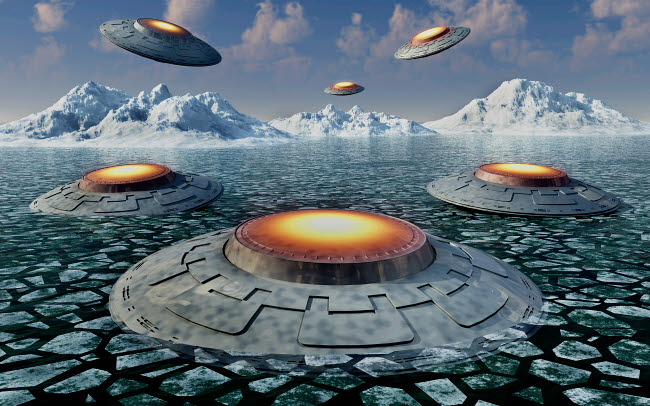 MAS200136S © Stocktrek Images, Inc. A fleet of UFO's in the Antarctic.
