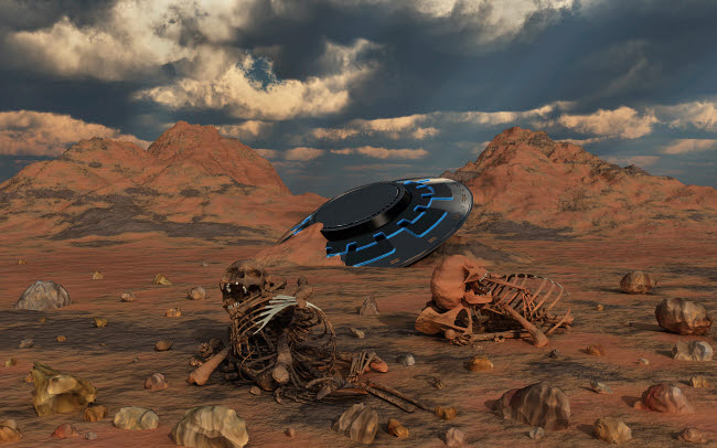 MAS200139S © Stocktrek Images, Inc. Dead humanoid remains lying near a crashed UFO site in a desert region.