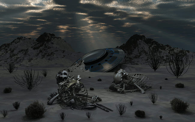 MAS200140S © Stocktrek Images, Inc. Dead humanoid remains lying near a crashed UFO in a desert region.