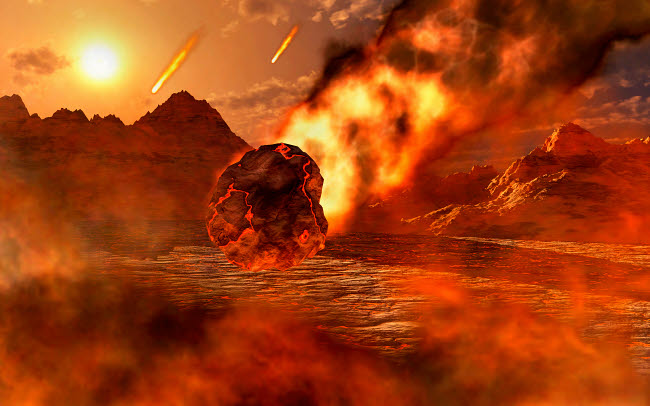MAS200157S © Stocktrek Images, Inc. The creation of a planet, as gravity pulls in asteroids and meteorites.