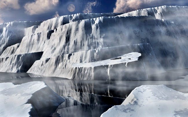MAS200166S © Stocktrek Images, Inc. Artist's concept of a massive ice shelf in the Antarctic.