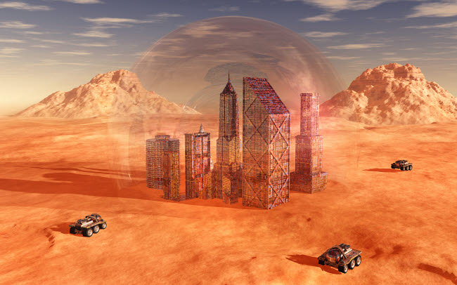 MAS200179S © Stocktrek Images, Inc. Mankind colonizing and terraforming the planet Mars.