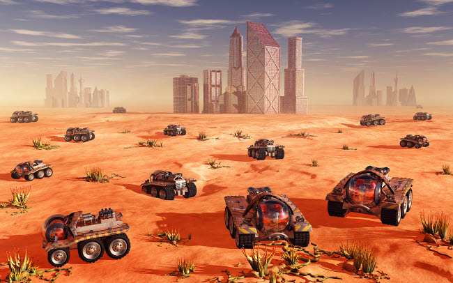 MAS200180S © Stocktrek Images, Inc. Mankind colonizing and terraforming the planet Mars.