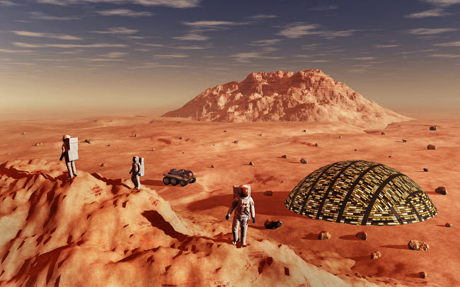 MAS200181S © Stocktrek Images, Inc. Mankind colonizing and terraforming the planet Mars.