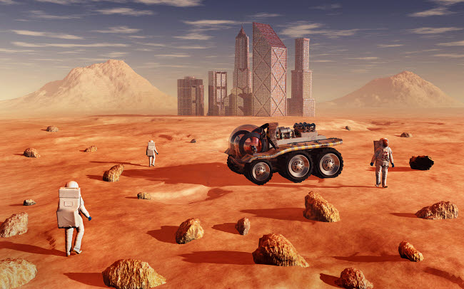 MAS200182S © Stocktrek Images, Inc. Mankind colonizing and terraforming the planet Mars.