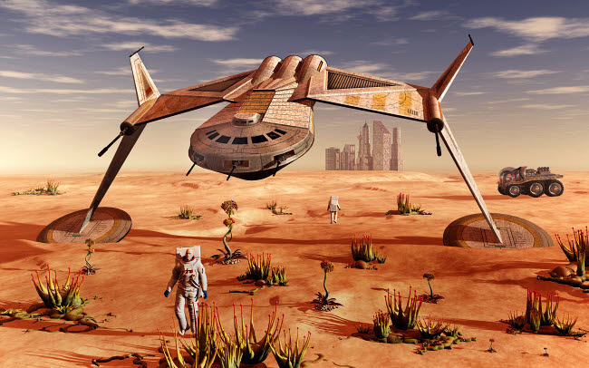 MAS200183S © Stocktrek Images, Inc. Mankind colonizing and terraforming the planet Mars.