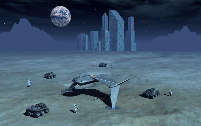 MAS200186S © Stocktrek Images, Inc. Artist's concept of futuristic colonies being set up on the surface of Earth's moon.
