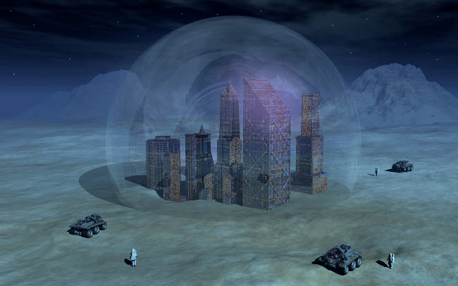 MAS200187S © Stocktrek Images, Inc. Artist's concept of futuristic colonies being set up on the surface of Earth's moon.