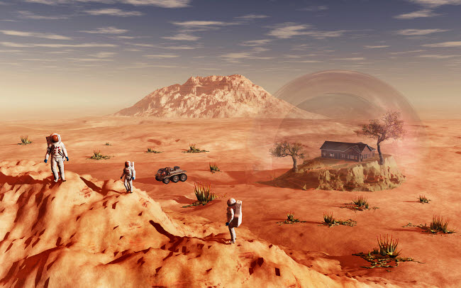 MAS200192S © Stocktrek Images, Inc. Humanity exploring and terraforming the planet Mars.