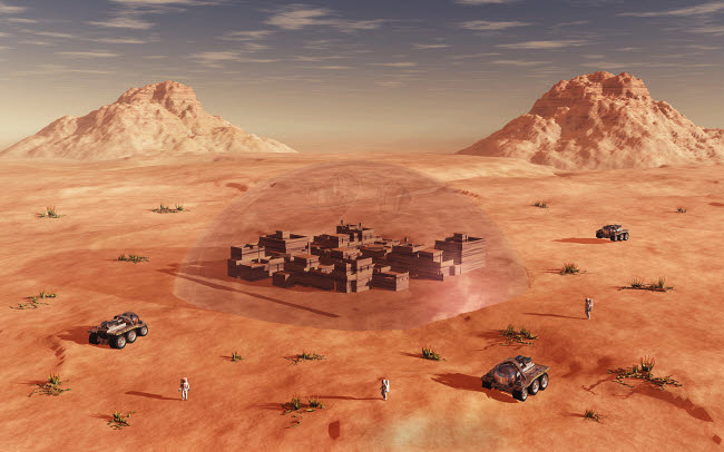 MAS200193S © Stocktrek Images, Inc. Humanity exploring and terraforming the planet Mars.