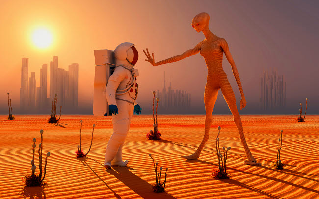 MAS200204S © Stocktrek Images, Inc. A human astronaut meeting a reptoid alien being for the first time.
