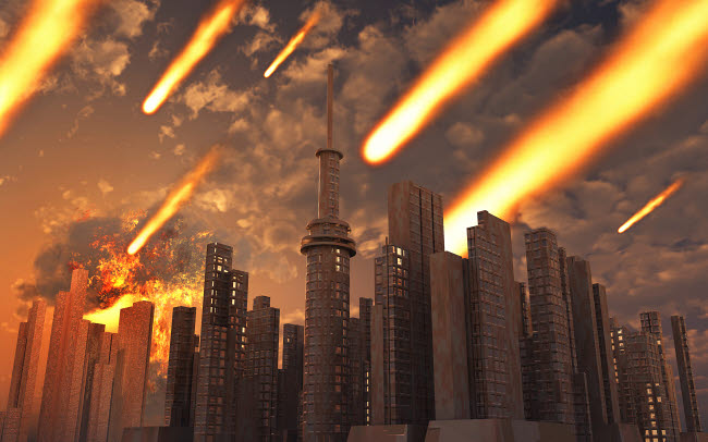 MAS200238S © Stocktrek Images, Inc. A large asteroid and its debris falling on a futuristic city.