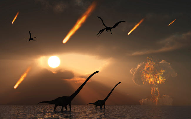 MAS600027P © Stocktrek Images, Inc. The last days of dinosaurs caused by a giant asteroid impact.