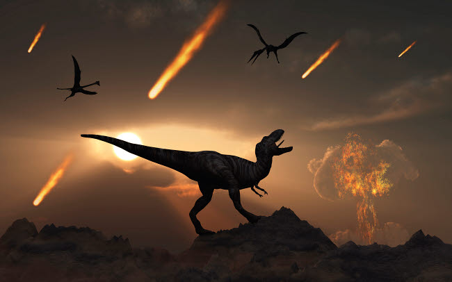 MAS600029P © Stocktrek Images, Inc. The last days of dinosaurs during the Cretaceous Period.