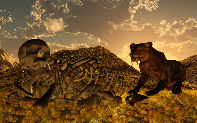 MAS600031P © Stocktrek Images, Inc. A Smilodon saber-toothed cat discovers human remains.